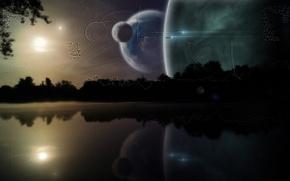 Картинка космос, звезды, деревья, ночь, озеро, фантастика, планеты, корабли