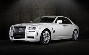 Обои ghost, car, mansory, Royce, Rolls, white