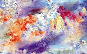 Картинка цветы, рисунок, ромашки
