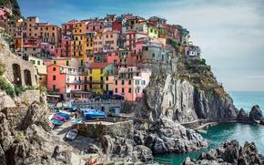Обои Манарола Чинкве Терре, мосты, Италия, дома, лодки, городок, скалы, пейзаж