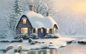 Картинка снег, праздник, Рождество, домик, мостик