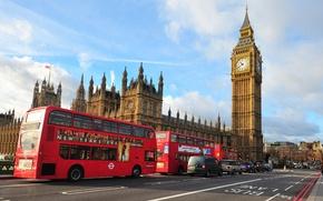 Картинка city, улица, Лондон, автобус, street, London, England, Big Ben, bus, Westminster Abbey