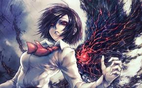 Картинка глаза, девушка, арт, Tokyo Ghoul, Токийский гуль, Kirishima Touka, упырь, Токийский монстр