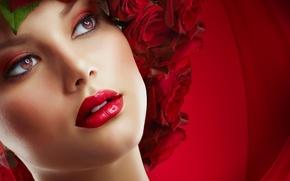 Картинка глаза, девушка, цветы, розы, губы