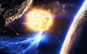 Картинка космос, звезды, астероиды, арт, space, art, planets
