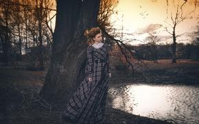 Картинка осень, девушка, парк, платье, Светлана Корулёва
