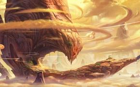 Картинка облака, скала, дерево, гора, арт, кривое, feng liu, pursue