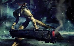 Картинка девушка, робот, меч, выстрел, пушка, Арт, готовность