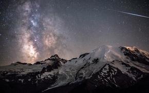 Картинка небо, космос, горы, звёзды, Ночь