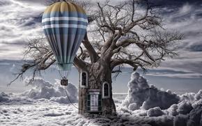 Картинка облака, воздушный шар, дерево, ствол