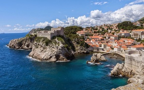 Картинка море, панорама, Хорватия, Castle, Croatia, Дубровник, Dubrovnik, Ядран