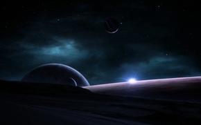 Обои восход, планеты, космос, звезды, туманность