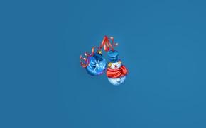 Обои шарики, украшения, минимализм, снеговик