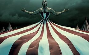 Картинка dark, red, horror, white, ghost, sky, dress, woman, man, series, spirit, strong, canvas, muscular, cloudy, …