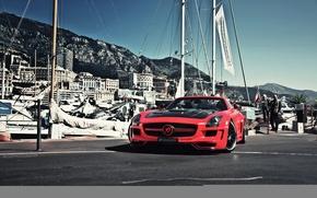 Обои red, Hamann, горы, пристань, остров, день, SLS, AMG, яхты, здания, красный, ni.st photography, хаманн, docks, ...