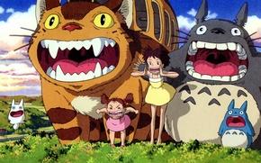 Картинка зубы, существо, пасть, крик, мой сосед тоторо, tonari no totoro, satsuki kusakabe, mei kusakabe, catbus, …