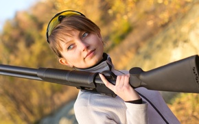 Картинка woman, shotgun, outdoor