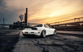 Картинка Mazda, Car, Sun, White, RX-7, BBS, Wheels, Rear, Swap, LS1