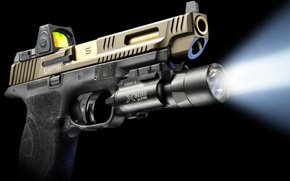 Картинка луч, Glock, оружие, свет, SAI Griffon, фонарик, пистолет