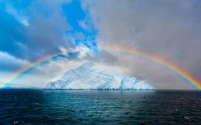 Картинка море, небо, облака, океан, лёд, радуга, ледник, айсберг, Арктика