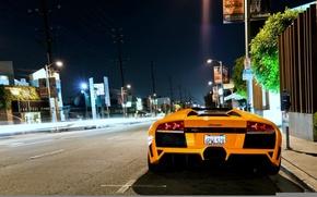 Картинка ночь, улица, lamborghini, murcielago, roadster