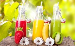 Картинка цветы, киви, клубника, сок, банан, бутылочки