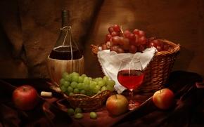 Картинка бутылка, пробка, бокал, wine, вино, натюрморт, корзина, яблоки, виноград