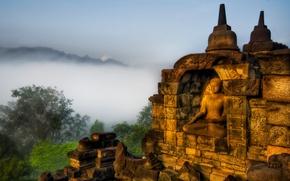 Картинка туман, будда, высокогорье, highlands, тибет, tibet, buddha