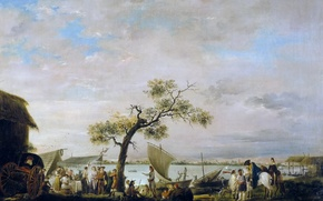Картинка картина, лодка, Антонио Карничеро, Вид на Лагуну Альбуфера в Валенсии, люди, парус, пейзаж