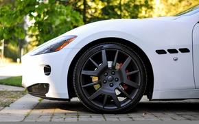 Картинка белый, Maserati, колесо, матовый, диск, granturismo, wheel, whitem matt, rim. мазерати