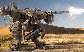 Обои огонь, пустыня, робот, стрельба, пулеметы, пески, шагатель