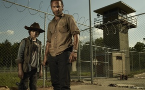 Обои Ходячие мертвецы, The Walking Dead, Rick Grimes, Carl Grimes, Andrew Lincoln, Чендлер Риггз, Chandler Riggs, ...
