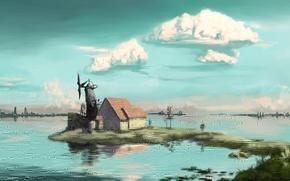 Картинка облака, деревья, пейзаж, озеро, дом, арт, мельница, постройки