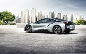Картинка car, авто, город, бмв, auto wallpaper, BMW i8