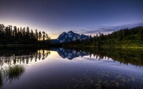 Обои mountain, forest, lake, sunrise