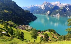 Обои Швейцария, луга, поля, склон, горы, дома, панорама, Sisikon, Urner, озеро