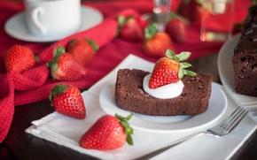 Картинка ягоды, еда, клубника, торт, пирожное, cake, крем, десерт, food, сладкое, dessert, strawberries