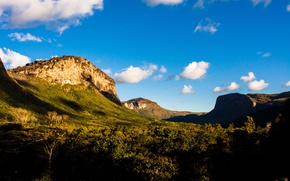 Картинка summer, sky, nature, mountains, clouds, valley, Brasil, countryside, sunny, Bahia, countryside scene, Vale do Capão, …