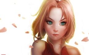 Обои девушка, лицо, лепестки, арт, белый фон, Sakura, naruto, Antonio De Luca