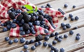 Обои ягоды, салфетка, стол, Anna Verdina, лето, ежевика, черника