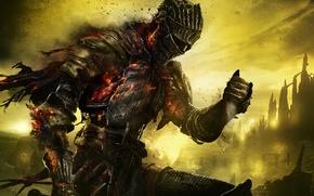Обои небо, доспехи, воин, рыцарь, латы, дыры, Namco Bandai Games, From Software, Dark Souls 3
