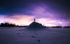 Картинка зима, небо, звезды, человек, гора