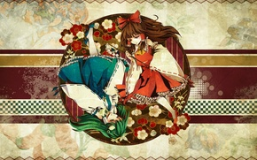 Картинка цветы, круг, зеленые волосы, Kochiya Sanae, Hakurei Reimu, Touhou Project, шахматная клетка, Проект Восток, жрицы