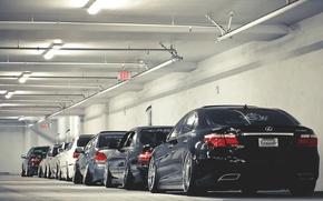 Картинка гараж, nissan, парковка, lexus, subaru, japan, ниссан, impreza, лексус, субару, импреза, ls460