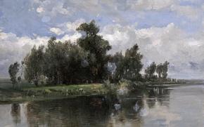 Картинка вода, деревья, пейзаж, природа, картина, Канал, Карлос де Хаэс