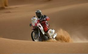 Обои гонки, мотоцикл, спорт, песок