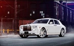 Обои белый, здание, Phantom, ограждение, white, Rolls Royce, вид спереди, Фантом, Роллс Ройс