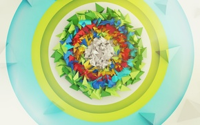 Картинка абстракция, треугольники, круг, пирамиды, мишень, рендер, digital art