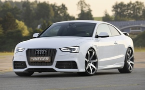 Обои белый, фон, Audi, тюнинг, купе, Ауди, диски, Coupe, tuning, передок, S-Line, Rieger