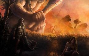 Картинка девушка, огонь, великан, Воин, топор, дубинка